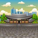 看法的例证Deoksugung宫殿有高楼背景 向量例证