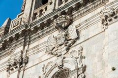 看法西勒鸠斯, Ortiggia,西西里岛,意大利,大厦面对 免版税库存图片