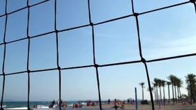 看法通过在都市风景的排球网,山 影视素材