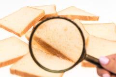 看法通过敬酒在桌上的面包的放大镜 麦子 免版税库存照片