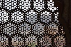 看法通过有特征模式的伊斯兰教的墙壁在印度 免版税库存图片