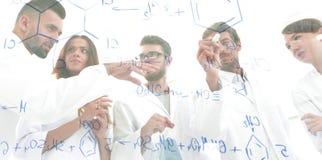 看法通过透明委员会 一个小组科学家分析信息 库存照片