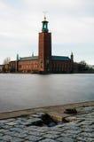 看法香港大会堂(Stadhuset)。斯德哥尔摩,瑞典 免版税库存图片