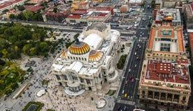 看法从上面帕拉西奥de贝拉斯阿特斯艺术宫殿-墨西哥城,墨西哥 图库摄影