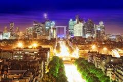 巴黎看法从凯旋门的。Defans Area.Paris。Fran 免版税库存图片