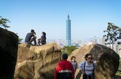 看法从大象Mt的台北101 免版税库存照片