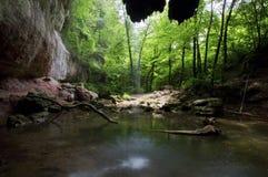 看法从小瀑布de Gourbachin的后面 免版税库存照片