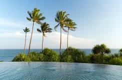 看法从无限边缘水池到海洋和棕榈 免版税图库摄影