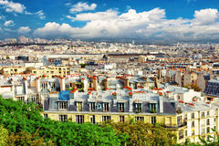 巴黎看法从Montmartre.Paris小山的。 库存图片