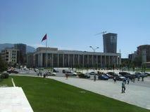 看法  Skanderberg广场在地拉纳,阿尔巴尼亚 免版税库存图片