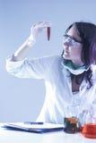 看烧瓶的女性试验室工怍人员充满液体化学制品在Experimen期间 库存照片