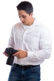 看照片摄影照相机职业滚刀的摄影师 免版税库存照片