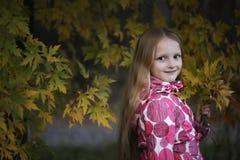 看照相机的一个愉快的微笑的小女孩的画象在秋天公园 逗人喜爱的四岁儿童享用 库存图片