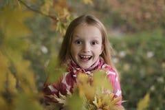 看照相机的一个愉快的微笑的小女孩的画象在秋天公园 逗人喜爱的四岁儿童享用 图库摄影