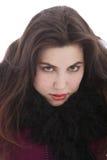 看照相机的冬天成套装备的诱人的妇女 库存图片
