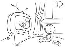 看电视的孩子在他的屋子里 图库摄影