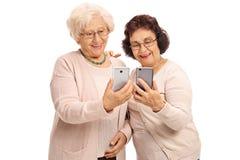 看电话的两名年长妇女 库存图片
