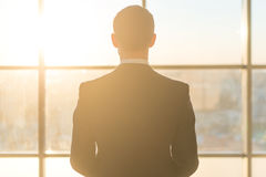 看窗口的一个男性办公室工作者的背面图 免版税库存照片
