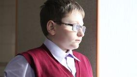戴看窗口的眼镜的男孩 影视素材