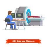 看脑部扫描的结果医生 MRI 免版税图库摄影