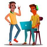 看膝上型计算机和听到在耳机传染媒介的音乐的学生 按钮查出的现有量例证推进s启动妇女 皇族释放例证