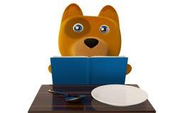 看菜单, 3D的动画片小狗翻译 皇族释放例证