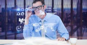 看虚屏的商人的数字式综合图象 库存照片