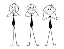 看见三个明智的商人的动画片,听见并且不讲Evi 免版税库存图片