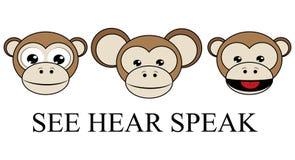 看见听见不讲邪恶的相反图表传染媒介3只明智的猴子 库存例证