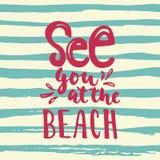 看见您在海滩-手拉的照片覆盖物的字法行情五颜六色的乐趣刷子墨水题字,贺卡 库存照片