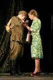 看见新兵战争的 俄国士兵和他的女朋友 俄国战士的画象 图库摄影