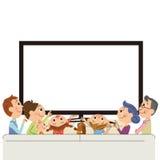 看见电视的三代家庭 皇族释放例证