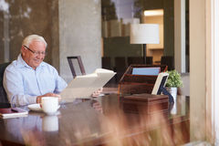 看象册的老人通过窗口 免版税库存图片