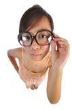 看起来亚裔中国的女孩严厉 免版税库存图片