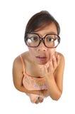 看起来亚裔中国的女孩冲击 免版税库存图片