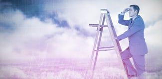看起来商人的综合的图象去,当上升在梯子时 库存图片