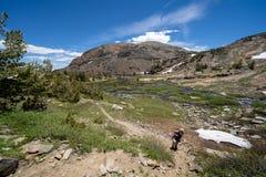 看起来女性的徒步旅行者困厄在远足以后通过小雪原在东部山脉加利福尼亚,20个湖盆地远足 库存图片