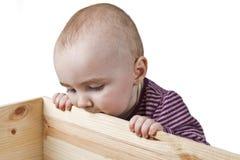 看起来婴孩的配件箱木 免版税图库摄影