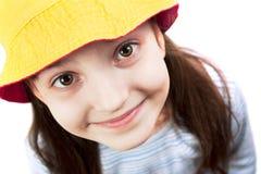 看起来微笑的年轻人的照相机女孩 库存照片