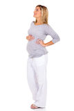看起来怀孕的妇女 免版税库存图片