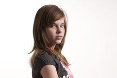 看起来照相机的女孩新 免版税图库摄影