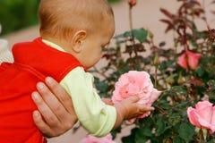 看起来的婴孩桃红色起来了 库存照片