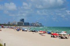 看起来迈阿密海滩的视图北部从Southpointe公园 库存图片