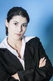 看起来unpleased妇女的商业 免版税图库摄影