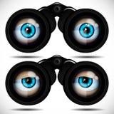 看通过双筒望远镜的蓝眼睛 不同的情感 皇族释放例证