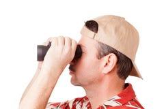 看通过双筒望远镜 免版税图库摄影