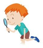 看通过放大镜的小男孩 皇族释放例证