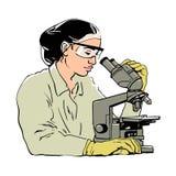 看通过显微镜的妇女科学家剪影 防护玻璃和橡胶的女性实验员 库存例证