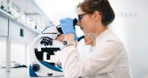 看通过显微镜的年轻科学家在实验室 免版税库存图片