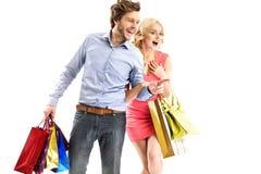 看销售的有吸引力的夫妇 免版税库存图片